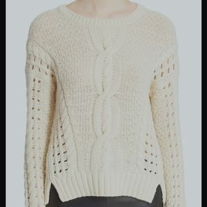 Vince Crop Cable Yak Wool Ivory Sweater in XXS